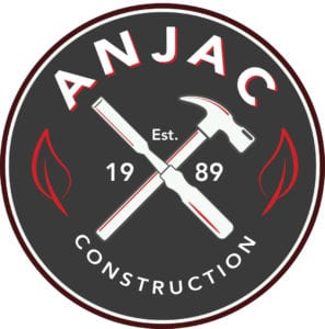Anjac logo with hammer and chisel in shape of an X