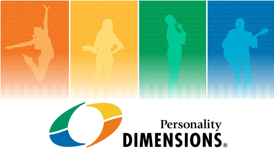 Personality Dimensions logo with 4 silouettes against orange, yellow, green and blue backgrounds